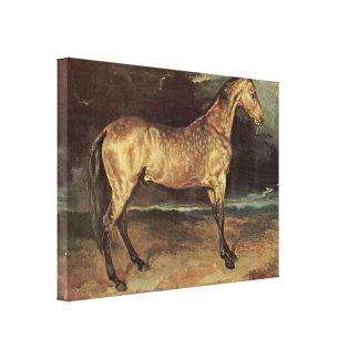 Gericaultルイセオドア-嵐の馬 キャンバスプリント