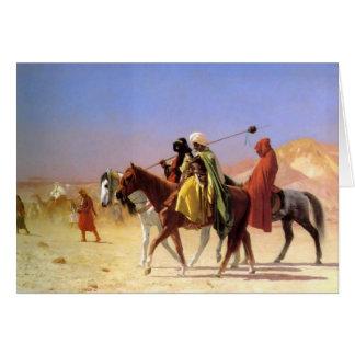 Geromeの挨拶状によって砂漠を交差させているアラビア人 カード