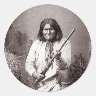 Geronimoのヴィンテージのインディアンの戦士 ラウンドシール