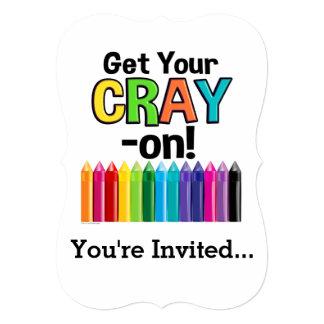 Get your Cray On Rainbow Crazy Crayon Art Teacher カード