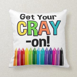 Get your Cray On Rainbow Crazy Crayon Art Teacher クッション