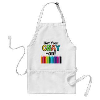 Get your Cray On Rainbow Crazy Crayon Art Teacher スタンダードエプロン
