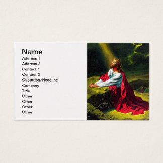Gethsemaneの庭で祈っているイエス・キリスト 名刺