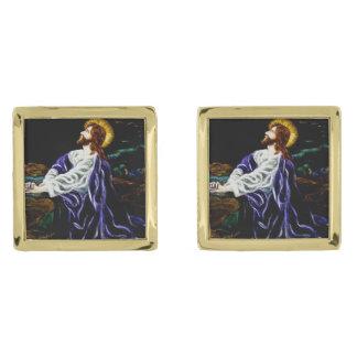 Gethsemaneの庭のイエス・キリスト ゴールド カフスボタン