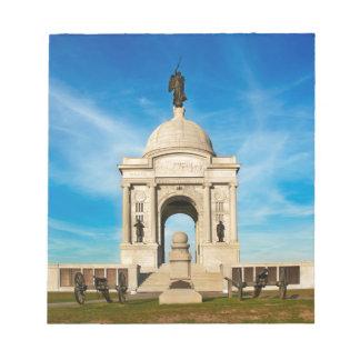 Gettysburgの国立公園-ペンシルバニアの記念物 ノートパッド