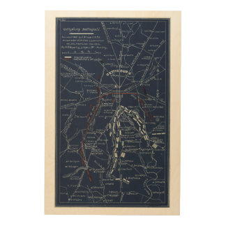 Gettysburgの戦場の内戦の地図(1863年) ウッドウォールアート
