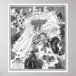 Gettysburgの戦場(1863年の) BWのヴィンテージの地図 ポスター
