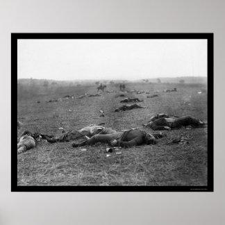 Gettysburgの死、PA 1863年の収穫 ポスター