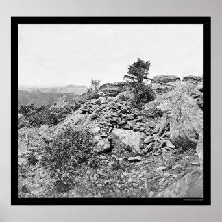 GettysburgのPAの胸壁1863年の近くで人を配置して下さい ポスター