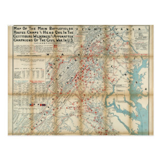 Gettysburg、荒野及びAppomattoxの内戦の地図 ポストカード