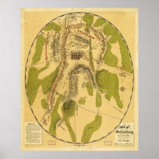 Gettysburg 7月1日の第2及び第3 1863年の分野 ポスター