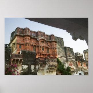 Ghaneraoの中の王室のな城、ラージャスターン州、インド ポスター