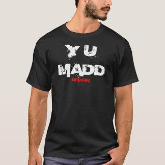"""GHoGH """"Y U MADD""""の黒いティー Tシャツ"""