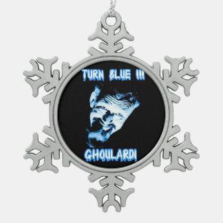 Ghoulardi (回転青)のピューターの雪片のオーナメント スノーフレークピューターオーナメント