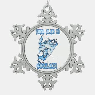 Ghoulardi (青2回転)のピューターの雪片のオーナメント スノーフレークピューターオーナメント