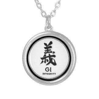 GIの完全性のbushidoの美徳の武士の漢字 シルバープレートネックレス