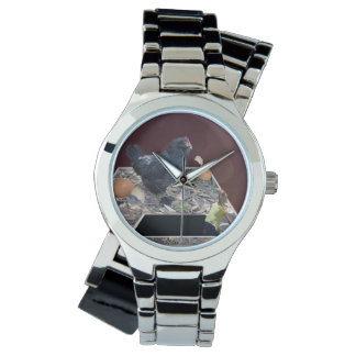Giant_Chicken_Egg_Crush_Ladies_Silver_Wrap_Watch 腕時計