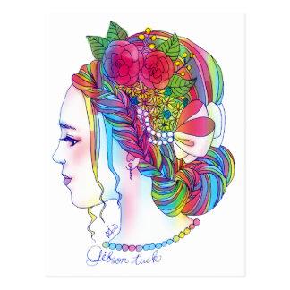 Gibson Tuckポストカード(花/女の子イラスト/カラフル/かわいい/オシャレ) ポストカード