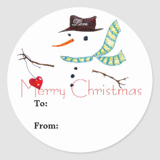 Gift Label Christmas Snowman Sticker ラウンドシール