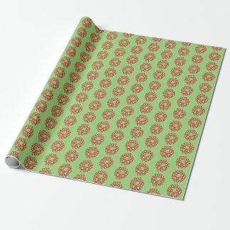 Gift Wrap - Red Christmas Wreaths on Green ラッピングペーパー