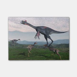 Gigantoraptorおよび小さいmononykusの恐竜- 3D r ポストイット
