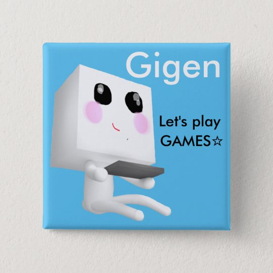 Gigenの四角い缶バッジ「Let's play GAMES☆」 5.1cm 正方形バッジ