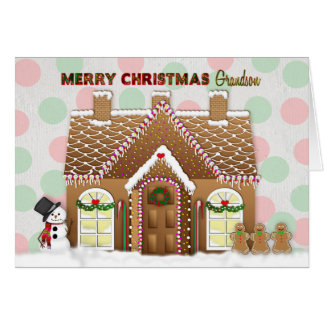Gingerbread House Christmas - Grandson カード