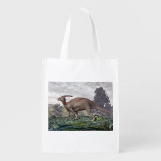 gingkoの木間のParasaurolophusの恐竜 エコバッグ