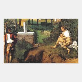 Giorgione暴風雨 長方形シール