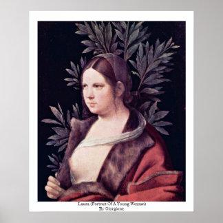 Giorgione著ローラ(若い女性のポートレート) ポスター