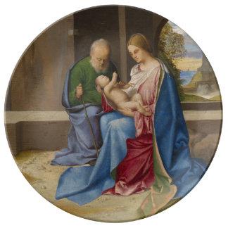 Giorgione著神聖な家族 磁器プレート