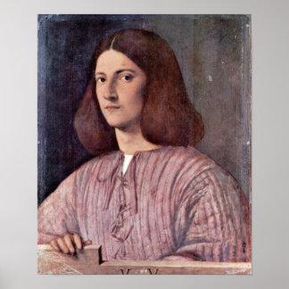 Giorgione -若者のポートレート ポスター