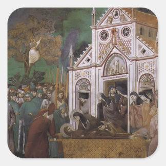 Giotto: St FrancisはSt.ドクレアによって嘆きました スクエアシール