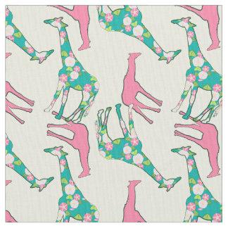Giraffe Floral Pattern ファブリック