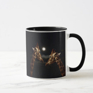 Giraffes_In月光の。_Ringer_Coffee_Mug マグカップ