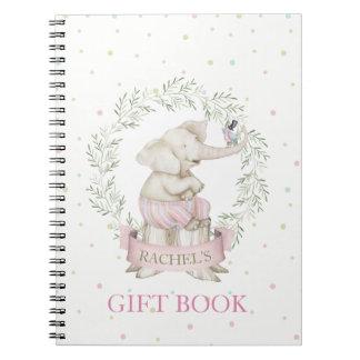Girl Elephant Baby Shower Pink Green Beige ノートブック