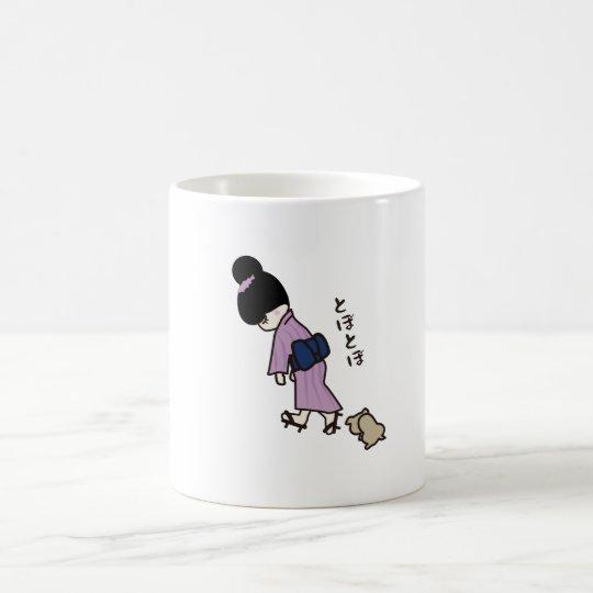 Girl in a kimono コーヒーマグカップ