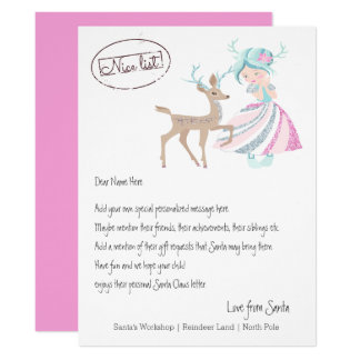 Girl Reindeer Letter From Santa Personalized カード