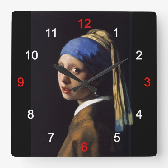 Girl with a Pearl Earring スクエア壁時計