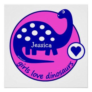 GIRLMPOWERのはっきりしたなピンクの女の子恐竜によってカスタマイズディーノ ポスター