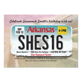 Girl's 16th Birthday Arkansas License Invitation カード