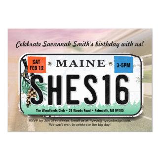 Girl's 16th Birthday Maine License Invitation カード