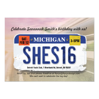 Girl's 16th Birthday Michigan License Invitation カード