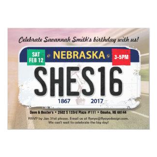 Girl's 16th Birthday Nebraska License Invitation カード
