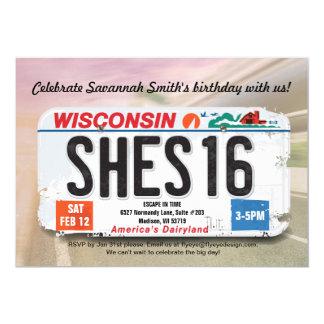 Girl's 16th Birthday Wisconsin License Invitation カード