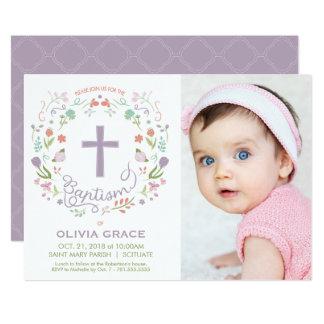 Girl's Baptism Invitation - Photo, Custom, Pretty カード