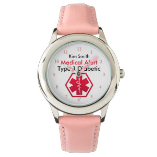 Girls Diabetes Medical Alert Type 1 or 2 腕時計