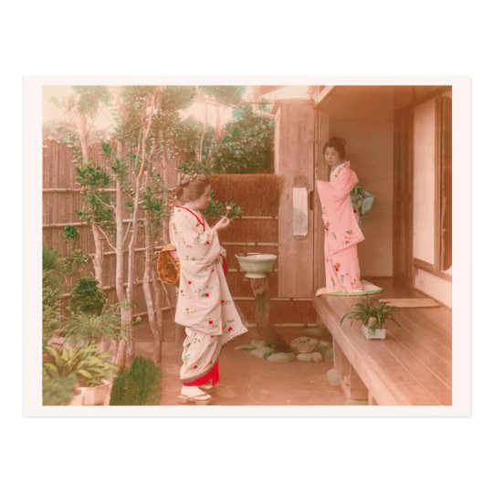 """""""Girls' Feelings"""" 乙女心 日本 着物 女性 ヴィンテージ 写真 和風 ポストカード"""