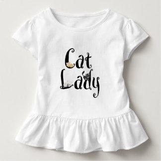 Girls Ruffle Shirt猫の女性 トドラーTシャツ