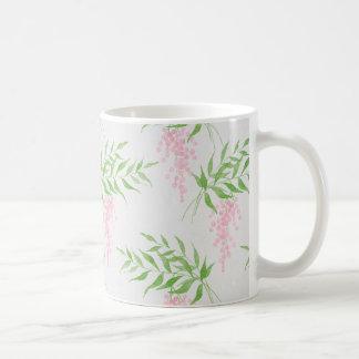 Girly Pink and Green Watercolor Flower Mug コーヒーマグカップ